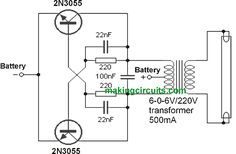 This simple 40 watt fluorescent tube emergency light circuit permits one to hook up a fluorescent tube up to in a vehicle or any other source. Basic Electronic Circuits, Electronic Circuit Projects, Electronic Schematics, Hobby Electronics, Electronics Components, Electronics Projects, Inverter Welder, Diy Amplifier, Power Supply Circuit
