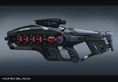 Sci-fi weapon concept from ArtStation - Aspid energy rifle in black, Aleksandr…