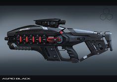 Sci-fi weapon concept from ArtStation - Aspid energy rifle in black, Aleksandr Bobrishev