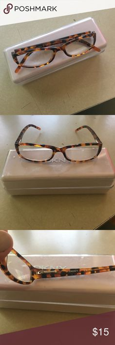 👓🤓DKNY FRAMES🤓👓 Great tortoise shell women's frames from DKNY, case included. NB: these have prescription lenses in them -- +1.50 (same strength of reading glasses you'd buy at a drugstore). My reading vision corrected itself, thankfully. You could also pop out the lenses & put your own in (or sunglasses lenses). They have the spring hinge so they are very sturdy. Great pair of glasses!! Dkny Accessories Glasses
