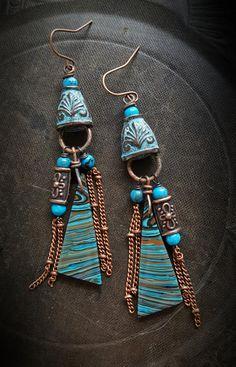 Calcilica Copper Aztec Gemstone Stone Rustic Chain