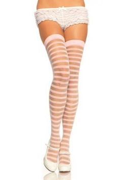 LIGHT PINK SHEER OPAQUE STRIPED STOCKINGS