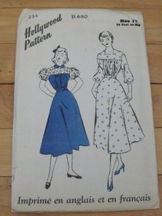 1941 Hollywood Pattern - 680-Dress - Size 17, Bust 35