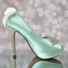 Aqua Blue Wedding Shoes Platform Peep Toe Bridal Heels Crystal Heel Crystal Applique White Bow Bling Wedding Shoes