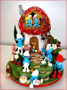 Bolos decorados dos Smurfs