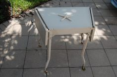 Vintage Metal Typewriter Table with Wooden Wheels - Curved - at Retro Daisy Girl