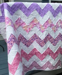 Pink and Purple Chevron Baby Quilt from http://www.HomeSewnByCarolyn.com