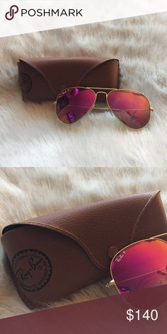 POLARIZED Ray Ban Aviators Polarized Ray-Bans. Pink reflective lenses with gold. Accessories Sunglasses