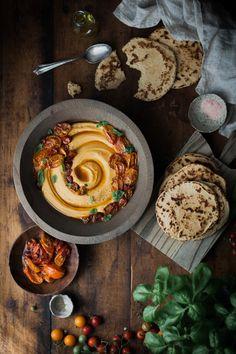 Slow-roasted Tomato & Basil Hummus + Quick Whole Wheat Yogurt Flatbreads - The Kitchen McCabe