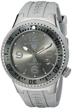 Swiss Legend Men's 21848P-GM-018B Neptune Charcoal Grey Dial Grey Silicone Watch -- Click image for more details.