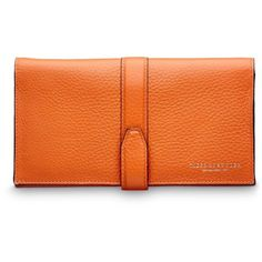 Vederna wallet ❤ liked on Polyvore featuring bags, wallets, orange bag, orange wallet, strap wallet, strap bag and full grain leather wallet