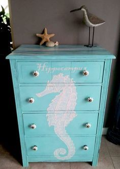 her gorgeous Hand Painted Beachy Dresser. First, she painted the dresser with a coat of blue chalk paint. Then, she projected the Seahorse image onto Beach Furniture, Coastal Furniture, Chalk Paint Furniture, Hand Painted Furniture, Coastal Decor, Diy Furniture, Antique Furniture, Bedroom Furniture, Outdoor Furniture