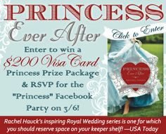 """Rachel Hauck is celebrating the release of """"Princess Ever After"""" with a $200 Visa cash card giveaway and a Facebook Author Chat Party on 3/6. Click for details!"""