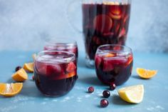 Easy Winter Holiday Sangria recipe using red wine, cranberry juice, brandy and plenty of fresh winter fruit.
