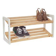 howards storage world shoe rack bamboo u0026 white