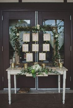 Wire Frame Wedding Seating Chart and Escort Card Display // http://www.deerpearlflowers.com/vintage-frames-wedding-decor-ideas/2/