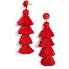 BaubleBar Gabriela Stud Tassel Earrings-Red (120 TND) ❤ liked on Polyvore featuring jewelry, earrings, studded jewelry, red stud earrings, long tassel earrings, baublebar jewelry and tassel earrings