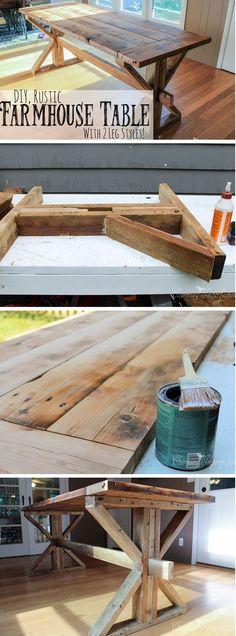 20+ Stunning DIY Farmhouse Tables for Rustic Decor - how to build a #DIY rustic #farmhouse dining table