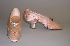 ~Shoes Made Of Embroidered Silk - European  c.1890s~