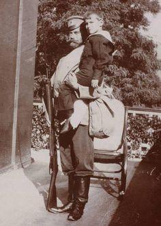 Nicholas II and Tsarevich Alexei, photograph from Anna Vyrubova collection.