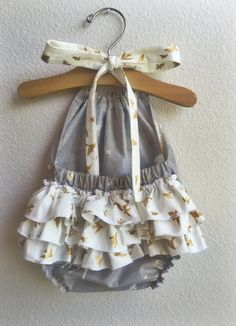 Wiild Heart Ruffled Baby Girl Romper by ALittleArrow on Etsy