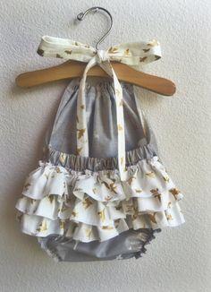 Wiild Heart Ruffled Baby Girl Romper by ALittleArrow on Etsy