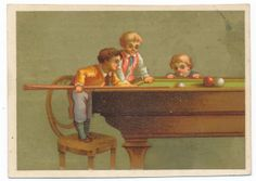 Very RARE Victorian Trade Card 1890 's Young Boys and Pool Billiard | eBay