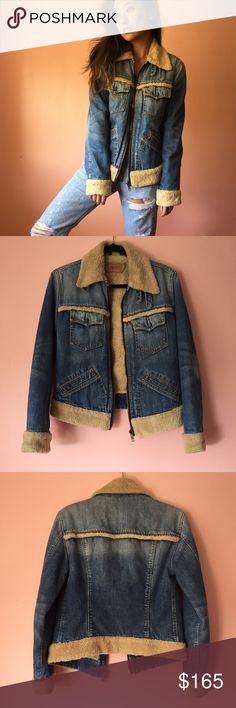 Vintage Levi's Denim Shearling Jacket Canadian tuxedos are forever cool and get the look with this insane vintage denim and shearling Levi's jacket. Features shearling collar with double buckle, shearling trimmed breast pockets, long sleeves, shearling cuffs, back trim and hem, zip closure and front side pockets. Fully lined in shearling. Fits true to size small. Tag says girls, but fits like a women's. No returns allowed. Please ask all questions before buying. IG: [at] jacqueline.pak…