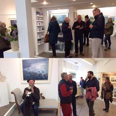 "Neil Pinkett's Private View for "" A Year at Cape Cornwall"" is well attended."