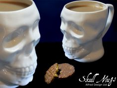 A realistic skull mug cast in English finest bone china. Using 3d printing of skull scan data & hand modelling to deliver high detail.