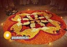 Onam Pookalam Design Onam Greetings, Onam Pookalam Design, Onam Wishes, Onam Festival, Happy Onam, Flower Rangoli, Kinds Of Colors, Floor Art, Types Of Flowers