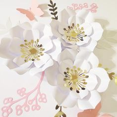 White Paper Flowers, Rose Gold Paper, Paper Flower Wall, Paper Flower Backdrop, Flower Wall Decor, Paper Roses, Flower Decorations, Backdrop Decorations, Wedding Arch Flowers