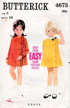 1960s Girl's Dress Pattern Butterick 4673 by BessieAndMaive