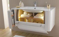 meuble largeur 110 cm rangement éclairé et vasquen Céramyl finition blanc laqué Millésime de Decotec