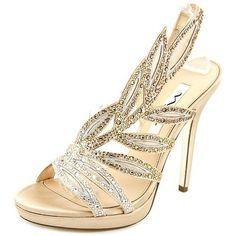 Nina Fauna Women Open-Toe Canvas Gold Slingback Heel - 20242147 - Overstock - Great Deals on Nina Heels - Mobile