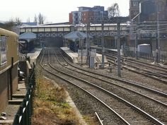 Altrincham Interchange; the railway platforms to the left, and the tram platforms to the right.