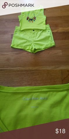 Calvin Klein Tank (and shorts) Neon green cotton tank with matching shorts. Cute for the summer!   Top - Calvin Klein and 95% cotton 5% elastane, Shorts - I❤Ronson and 100% cotton. Calvin Klein Tops Tank Tops