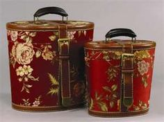 Floral on Red Vintage Style Suitcase Decorative Box Set of 3