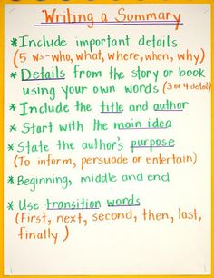 fifth grade anchor charts- summary writing Teaching Language Arts, Teaching Writing, Writing Skills, Kindergarten Writing, Writing Process, Kids Writing, Writing Ideas, Fifth Grade Writing, 5th Grade Reading