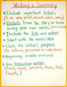 grade 5 language arts writing a summary