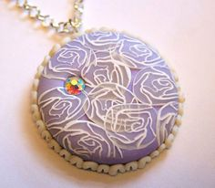 Polymerclay pendant with millefiori roses and a little bling* - Polymerclay by KVJ