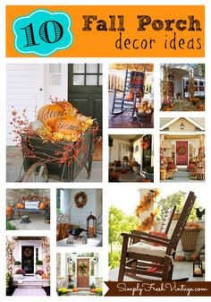 10 #Fall Porch Decor Ideas from Simply Fresh Vintage.