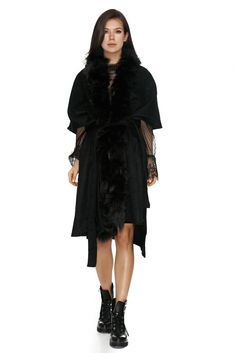 Warmth and style will no longer be an issue with this Italian style coat with fox fur. Beautifully crafted to bring out the true Italian style Fox Fur Coat, Jackets Online, Italian Style, Out Of Style, Black Wool, Clothes For Sale, Wrapping, Going Out, Glamour