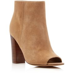 Sam Edelman Yarin Suede Open Toe High Heel Booties ($170) ❤ liked on Polyvore featuring shoes, boots, ankle booties, oatmeal, sam edelman, open toe boots, block heel boots, high heel boots and suede ankle booties