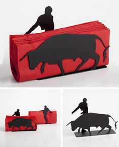 A humorously designed napkin holder, with a brave matador on one side and a raging bull on the other, with napkins (preferably red!) instead of the red cloth.