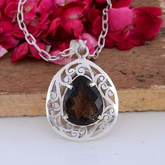 Smoky Quartz Jewellery – Indian Handmade Smoky Topaz Gemstone Women Pendant – a unique product by 925silvercollection on DaWanda