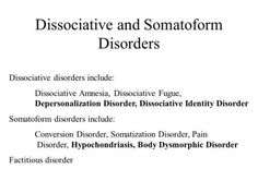 Dissociative and Somatoform Disorders Dissociative disorders include: Dissociative Amnesia, Dissociative Fugue, Depersonalization Disorder, Dissociative. Depersonalization Disorder, Conversion Disorder, Dsm Iv, Ptsd Symptoms, Mental Health Nursing, Acute Care, Traumatic Brain Injury, Stress Disorders, Quotes
