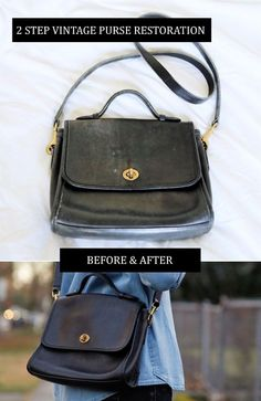 2-Step vintage purse restoration, shown with a vintage Coach crossbody bag. All supplies under $10 and work on all leather accessories (not just purses)! via the demure muse
