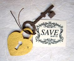 50 Plantable Lock And Key Save The Date Cards Flower Seed Paper Locks Keys Wedding Favor