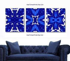 Navy Blue Wall Art royal blue wall art cobalt blue floral abstract wall decor navy